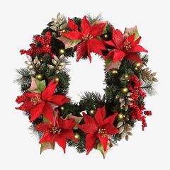 Pre-Lit Poinsettia Wreath,