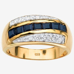 Men's Gold over Sterling Silver Sapphire and Cubic Zirconia Ring,