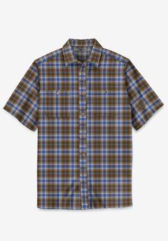 Short-Sleeve Plaid Sport Shirt, VARSITY BROWN PLAID