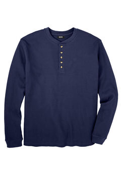 Waffle-Knit Thermal Henley Tee, NAVY