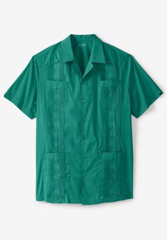 Short-Sleeve Guayabera Shirt by KS Island™, EMERALD