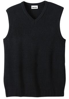 Shaker Knit V-Neck Sweater Vest, BLACK