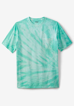 Shrink-Less™ Lightweight Pocket Crewneck T-Shirt, TIDAL GREEN MARBLE