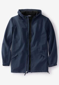 Fleece-Lined Rain Coat, NAVY