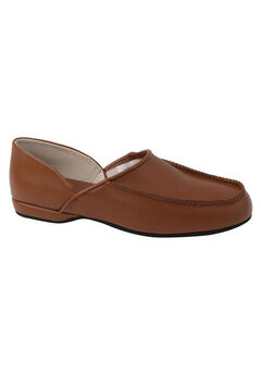 L.B. Evans Chicopee Leather Moc Slippers, TAN
