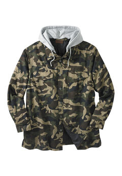 Removable Hood Shirt Jacket by Boulder Creek®, OLIVE CAMO