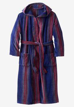 Terry Velour Hooded Maxi Robe, MIDNIGHT NAVY STRIPE
