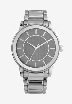 Mirrored Bezel Silver Metal Link Watch,