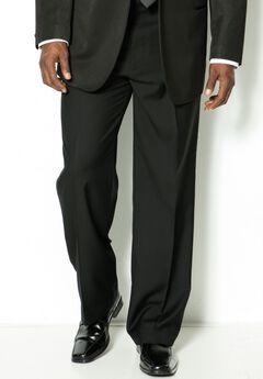 KS Signature Plain Front Tuxedo Pants, BLACK