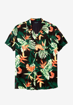 KS Island™ Tropical Caribbean Camp Shirt, BLACK TROPICAL