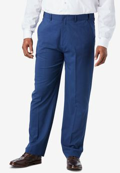 Easy-Care Classic Fit Expandable Waist Plain Front Dress Pants,