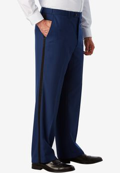 KS Signature Plain Front Tuxedo Pants, BLUE