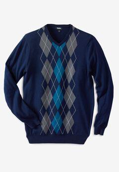 V-Neck Argyle Sweater,