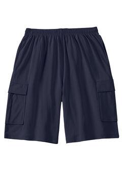 Lightweight Jersey Cargo Shorts, NAVY