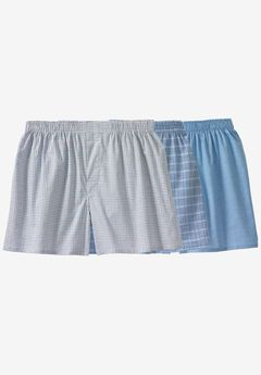 Woven Boxers 3-Pack, MIXED PRINT BLUE PATTERN