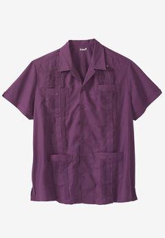 KS Island™ Short-Sleeve Guayabera Shirt, RUM RUNNER