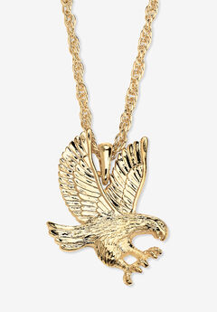 """Gold Tone Eagle Charm Pendant with 24"""" Chain,"""