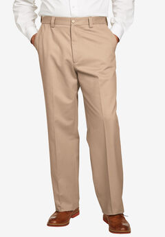 Relaxed Fit Wrinkle-Free Expandable Waist Plain Front Pants, DARK KHAKI