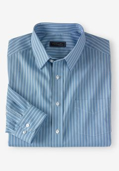 Classic Fit Broadcloth Flex Long-Sleeve Dress Shirt by KS Signature, SKY BLUE STRIPE