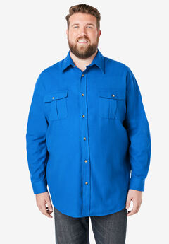 Solid Double-Brushed Flannel Shirt, ROYAL BLUE