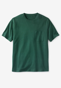 Shrink-Less™ Lightweight Pocket Crewneck T-Shirt, HUNTER