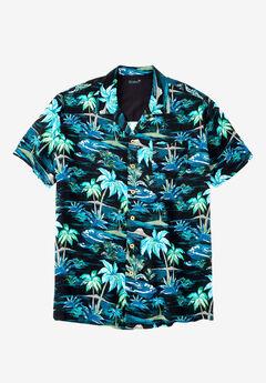 KS Island™ Tropical Caribbean Camp Shirt, BLACK PALM