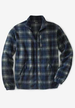 Full-Zip Fleece Jacket, NAVY PLAID
