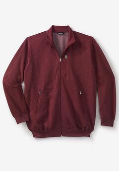 Full-Zip Fleece Jacket, HEATHER RICH BURGUNDY