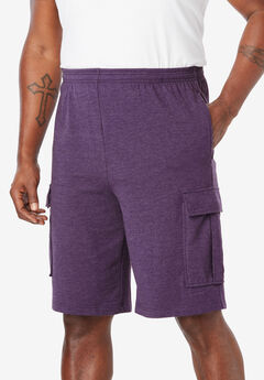 Lightweight Jersey Cargo Shorts, HEATHER DARK PURPLE