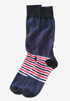 Novelty Dress Socks, NAVY RED STRIPED