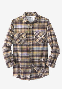 Plaid Flannel Shirt, KHAKI PLAID