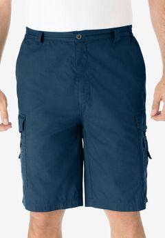 "Cotton Canvas Side-Elastic Waist 10"" Cargo Shorts, NAVY"