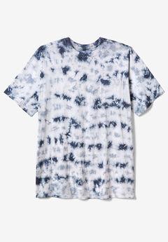 Lightweight Longer-Length Crewneck Pocket T-Shirt, STEEL MARBLE