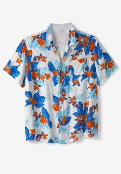 KS Island™ Tropical Caribbean Print Shirt, FLAME ORANGE FLORAL