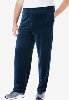 Velour Open Bottom Pants, NAVY