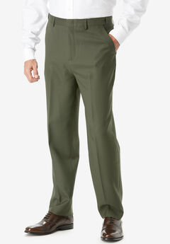 Easy-Care Signature Fit Expandable Waist Plain Front Dress Pants,