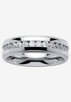 Stainless Steel Cubic Zirconia Channel Set Eternity Bridal Ring,