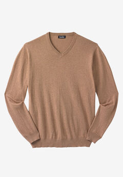 Lightweight V-Neck Sweater, HEATHER CAMEL