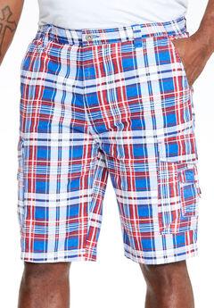 "10"" Cargo Shorts, BLUE PLAID"