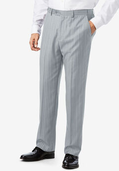 KS Signature Easy Movement® Plain Front Expandable Suit Separate Dress Pants, GREY PINSTRIPE