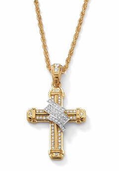 """Gold Tone Wrapped Cross Pendant 24"""" Chain,"""