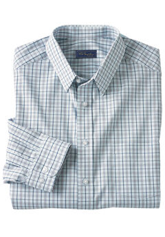 Classic Fit Broadcloth Flex Long-Sleeve Dress Shirt by KS Signature, SKY BLUE CHECK