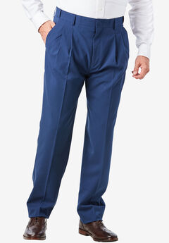Easy-Care Signature Fit Expandable Waist Pleat Front Dress Pants, HEATHER SLATE BLUE