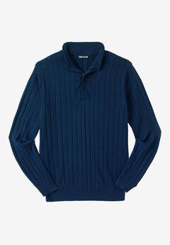 ¼ -Zip Mock Neck Lightweight Sweater, NAVY