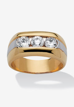 Men's Yellow Gold Plated Cubic Zirconia Two Tone 3 Stone Ring,