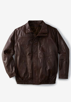 Leather Bomber Jacket, BROWN