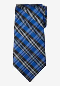 KS Signature Extra Long Classic Plaid Tie, COBALT BLUE PLAID