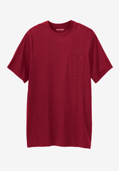Shrink-Less™ Lightweight Longer-Length Crewneck Pocket T-Shirt, RICH BURGUNDY