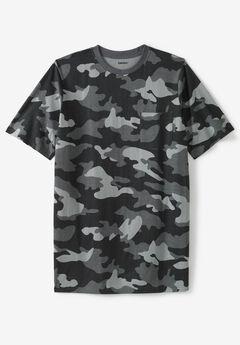 Lightweight Longer-Length Crewneck Pocket T-Shirt, STEEL CAMO