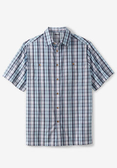 Short-Sleeve Plaid Sport Shirt, BLUE PLAID